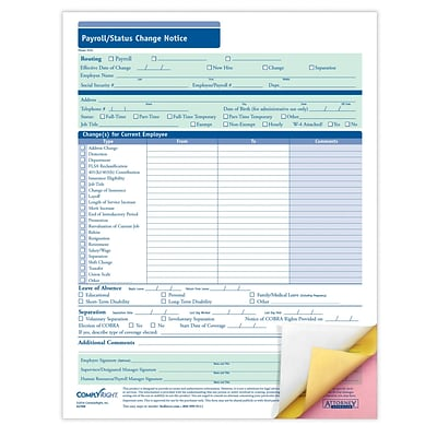 ComplyRight Payroll Status Change Notice, 3-Part, Pack of 50 (A2168)