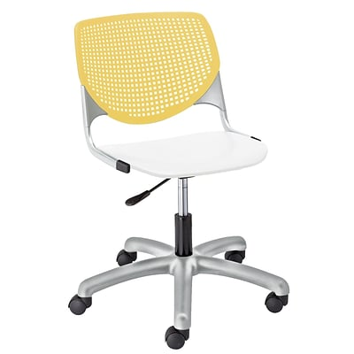 NRS. (2-1-17) KFI, TK2300-BP12SP08, KOOL Collection, Yellow & White Poly, 5 Star Base with casters,  armless,