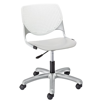 NRS. (2-1-17) KFI, TK2300-BP08SP13, KOOL Collection, Light Grey & White Poly, 5 Star Base with casters,  armless,