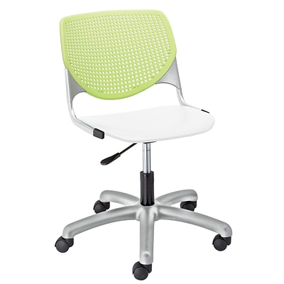 NRS. (2-1-17) KFI, TK2300-BP14SP08, KOOL Collection, Lime Green & White Poly, 5 Star Base with casters,  armless,