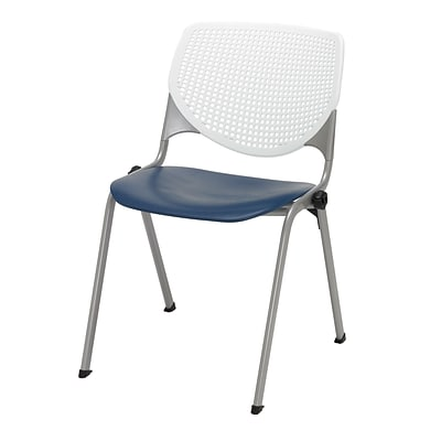 KFI, Kool Collection, Steel frame, stack chair, white & navy, 2300-BP08-SP03