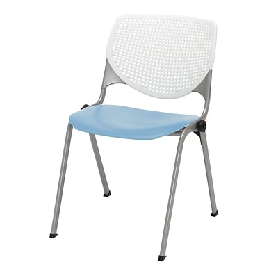 NRS. (2-1-17)  KFI,  Kool Collection, Steel frame, stack chair, white & sky blue, 2300-BP08-SP35