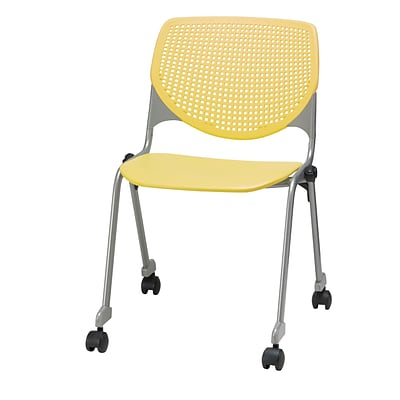 NRS. (2-1-17)  KFI, CS200-P12, KOOL Collection, Yellow Poly, Caster Chair,  armless,