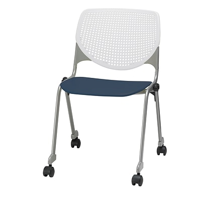 KFI, CS200-BP08SP03, KOOL Collection, Navy & White Poly, Caster Chair,  armless,