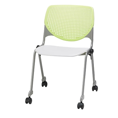 KFI, CS200-BP14SP08, KOOL Collection, Lime Green & White Poly, Caster Chair,  armless,