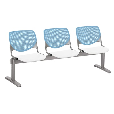 NRS. (2-1-17) KFI, 2300BEAM3B35S08, KOOL Collection, Sky Blue & White , 3 Seat Beam,  armless,