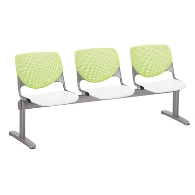 NRS. (2-1-17) KFI, 2300BEAM3B14S08, KOOL Collection, Lime Green & White ,  3 Seat Beam,  armless,