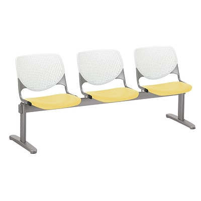 NRS. (2-1-17) KFI, 2300BEAM3B08S12, KOOL Collection, White & Yellow , 3 Seat Beam,  armless,