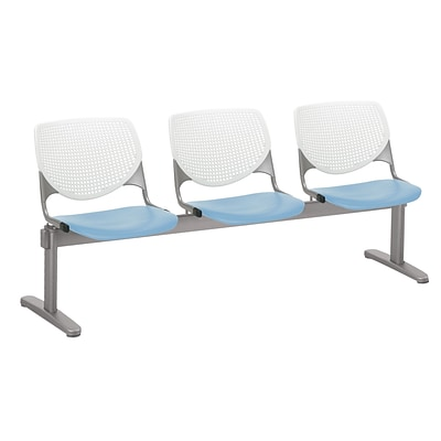 NRS. (2-1-17) KFI, 2300BEAM3B08S35, KOOL Collection, White & Sky Blue , 3 Seat Beam,  armless,