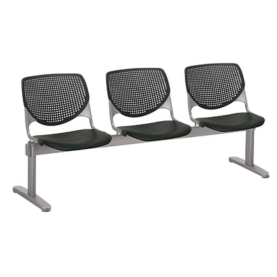 NRS. (2-1-17) KFI, 2300BEAM3-P10, KOOL Collection, Black, 3 Seat Beam,  armless,