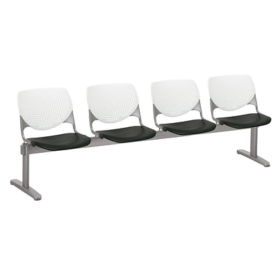 NRS. (2-1-17) KFI, 2300BEAM4B08S10, KOOL Collection, White & Black , 4 Seat Beam,  armless,