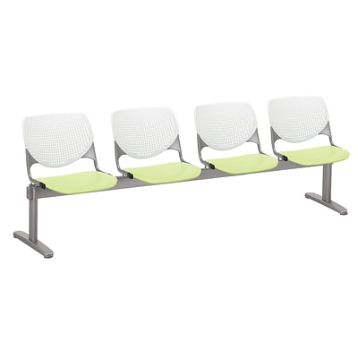 NRS. (2-1-17) KFI, 2300BEAM4B08S14, KOOL Collection, White & Lime Green , 4 Seat Beam,  armless,
