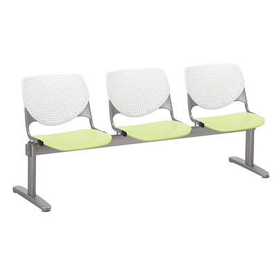 NRS. (2-1-17) KFI, 2300BEAM3B08S14, KOOL Collection, White & Lime Green , 3 Seat Beam,  armless,