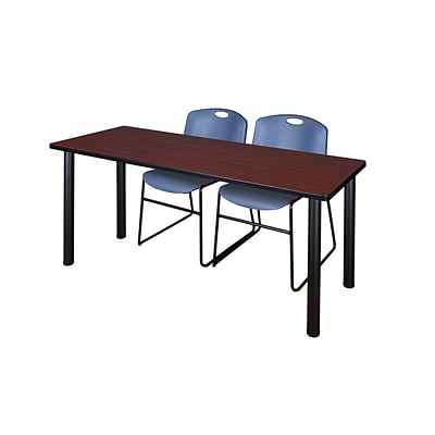 Regency Kee 60 x 24 Training Table- Mahogany/ Black & 2 Zeng Stack Chairs- Blue [MT60MHBPBK44BE]