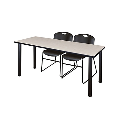 Regency Kee 60 x 24 Training Table- Maple/ Black & 2 Zeng Stack Chairs- Black [MT60PLBPBK44BK]