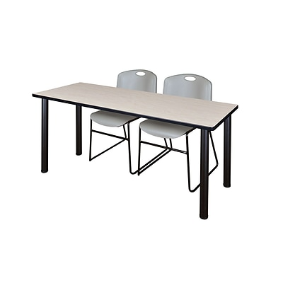 Regency Kee 60 x 24 Training Table- Maple/ Black & 2 Zeng Stack Chairs- Grey [MT60PLBPBK44GY]