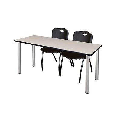 Regency Kee 60 x 24 Training Table- Maple/ Chrome & 2 M Stack Chairs- Black [MT60PLBPCM47BK]