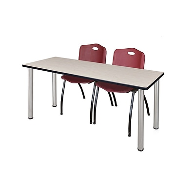 Regency Kee 60 x 24 Training Table- Maple/ Chrome & 2 M Stack Chairs- Burgundy [MT60PLBPCM47BY]