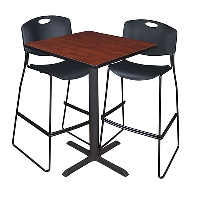 Regency Cain 30 Square Cafe Table- Cherry & 2 Zeng Stack Stools- Black