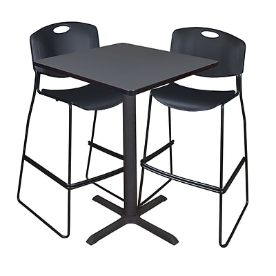Regency Cain 30 Square Cafe Table- Grey & 2 Zeng Stack Stools- Black