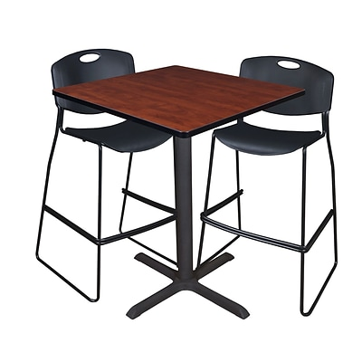 Regency Cain 36 Square Cafe Table- Cherry & 2 Zeng Stack Stools- Black