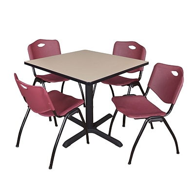 Regency Cain 36 Square Breakroom Table- Beige & 4 M Stack Chairs- Burgundy