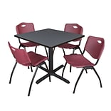 Regency Cain 36 Square Breakroom Table- Grey & 4 M Stack Chairs- Burgundy