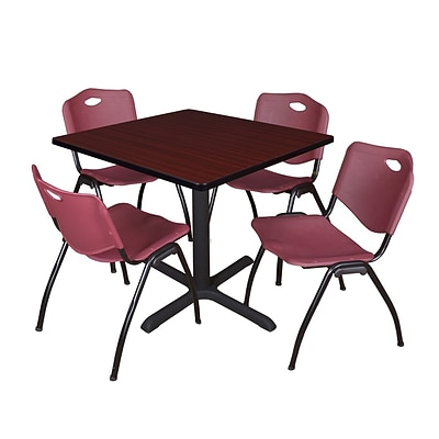 Regency Cain 36 Square Breakroom Table- Mahogany & 4 M Stack Chairs- Burgundy