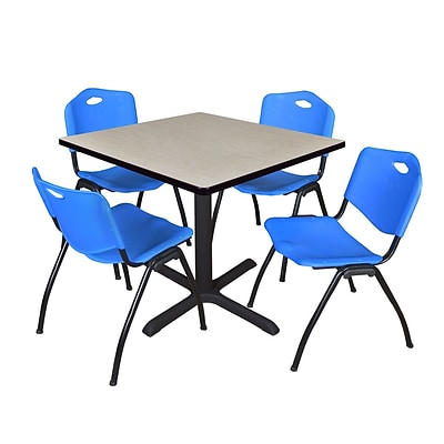 Regency Cain 36 Square Breakroom Table- Maple & 4 M Stack Chairs- Blue