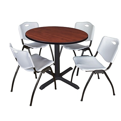 Regency Cain 36 Round Breakroom Table- Cherry & 4 M Stack Chairs- Grey