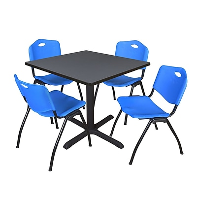 Regency Cain 42 Square Breakroom Table- Grey & 4 M Stack Chairs- Blue
