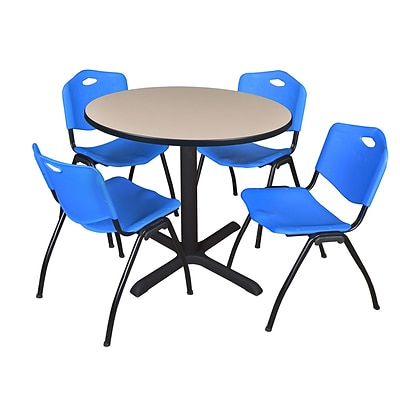 Regency Cain 42 Round Breakroom Table- Beige & 4 M Stack Chairs- Blue