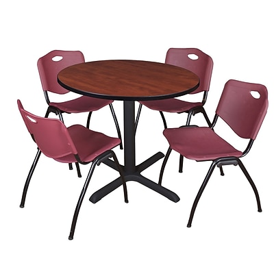 Regency Cain 42 Round Breakroom Table- Cherry & 4 M Stack Chairs- Burgundy