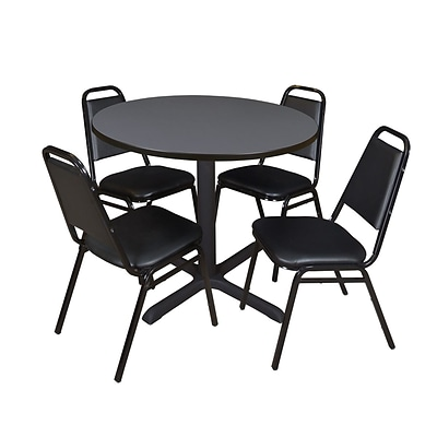 Regency Cain 42 Round Breakroom Table- Grey & 4 Restaurant Stack Chairs- Black