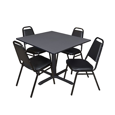 Regency Cain 48 Square Breakroom Table- Grey & 4 Restaurant Stack Chairs- Black