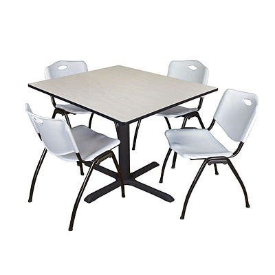 Regency Cain 48 Square Breakroom Table- Maple & 4 M Stack Chairs- Grey