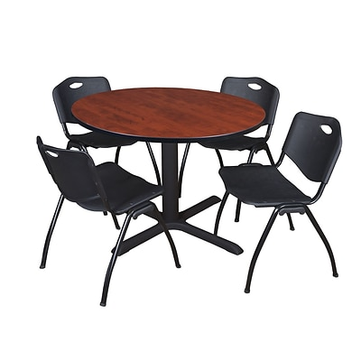 Regency Cain 48 Round Breakroom Table- Cherry & 4 M Stack Chairs- Black