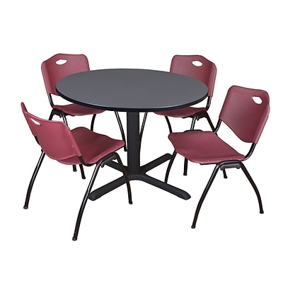 Regency Cain 48 Round Breakroom Table- Grey & 4 M Stack Chairs- Burgundy