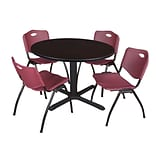 Regency Cain 48 Round Breakroom Table- Mocha Walnut & 4 M Stack Chairs- Burgundy