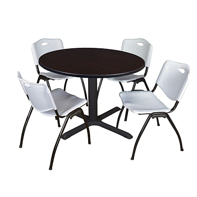 Regency Cain 48 Round Breakroom Table- Mocha Walnut & 4 M Stack Chairs- Grey