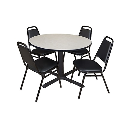 Regency Cain 48 Round Breakroom Table- Maple & 4 Restaurant Stack Chairs- Black