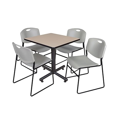 Regency Kobe 30 Square Breakroom Table- Beige & 4 Zeng Stack Chairs- Grey