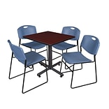 Regency Kobe 30 Square Breakroom Table- Mahogany & 4 Zeng Stack Chairs- Blue