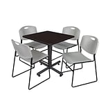 Regency Kobe 30 Square Breakroom Table- Mocha Walnut & 4 Zeng Stack Chairs- Grey