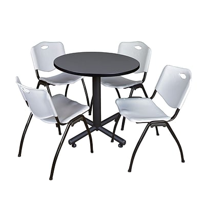 Regency Kobe 30 Round Breakroom Table- Grey & 4 M Stack Chairs- Grey