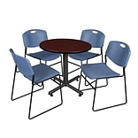 Regency Kobe 30 Round Breakroom Table- Mahogany & 4 Zeng Stack Chairs- Blue