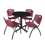 Regency Kobe 30 Round Breakroom Table- Mocha Walnut & 4 M Stack Chairs- Burgundy