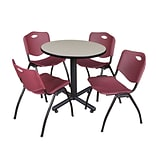 Regency Kobe 30 Round Breakroom Table- Maple & 4 M Stack Chairs- Burgundy
