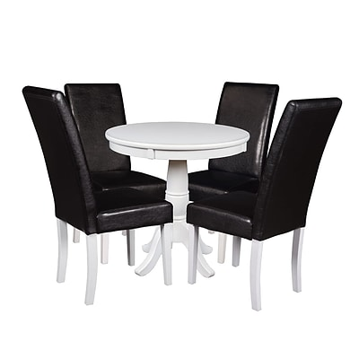 Niche Mod 30 Round Pedestal Table- White & 4 Tyler Dining Room Chairs- White