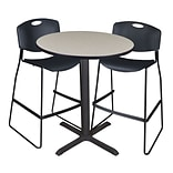 Regency Cain 36 Round Cafe Table- Maple & 2 Zeng Stack Stools- Black